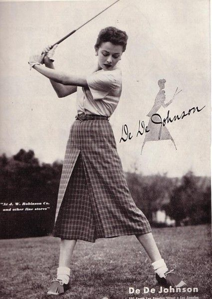 De De Johnson women's golf wear ad, 1952.