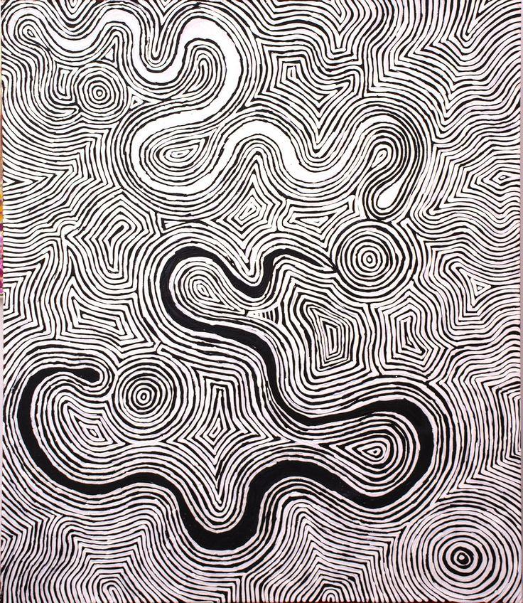 Leston Japaljarri Spencer - Warna Jukurrpa (Snake Dreaming) http://www.aboriginalsignature.com/art-aborigene-yuendumu/leston-japaljarri-spencer-warna-jukurrpa-snake-dreaming