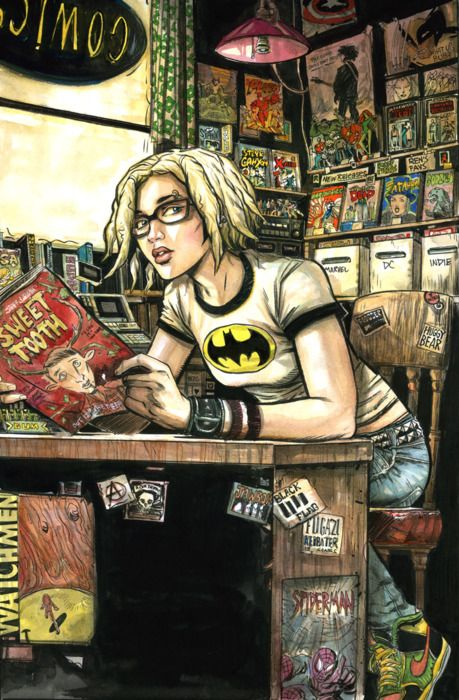 Artist Ryan Kelly's commission sketch of Ren from New York Four/Five working in a comic shop.: Geekgirl, Graphics Novels, Dreams Job, Geek Girls, Comic Books, Nerd Girls, Comicbook, Books Stores, Comic Art