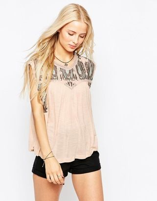 Hazel Embroidered T-Shirt - Shop for women's T-shirt - blush T-shirt