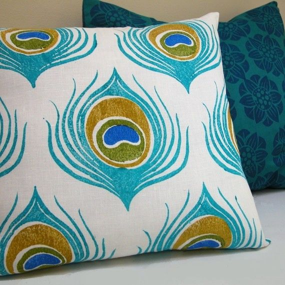 Turquoise Blue Peacock Feather linen pillow case by giardino, $46.00