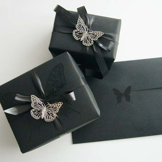 Use black wrapping paper and coordianated black embellishments for drama and sophistication. #giftwrap by rosella