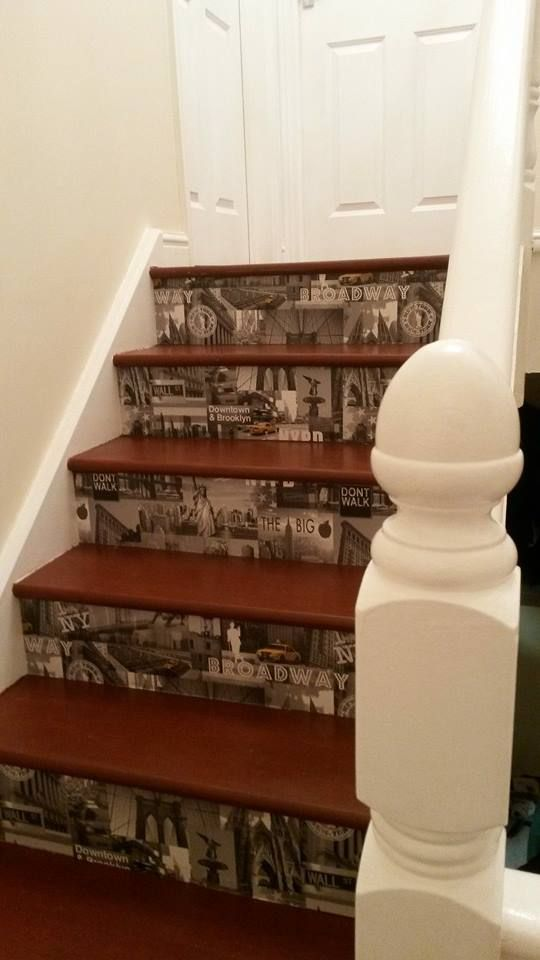 I stained and varnished my stairs then put my chosen wallpaper on before varnishing that too for added protection, I am very pleased with the result