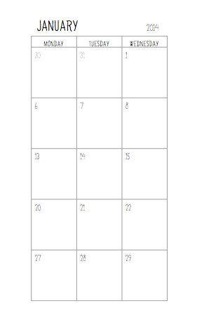 Filofax Personal Size - Stand 2014 Kalender: Monat auf zwei Seiten Planner - digitale Datei eingefügt
