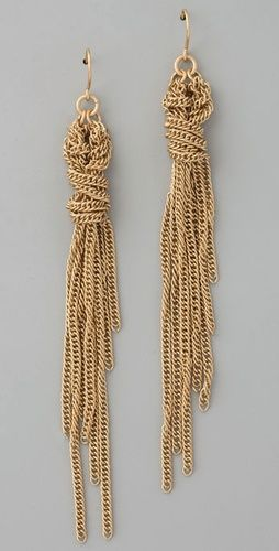 Madewell Braided Tassel Earrings. I love the unfinished look of these earrings. Also imagine teardrop shaped gemstones or CZs dangling off the ends of the chain in various sizes.