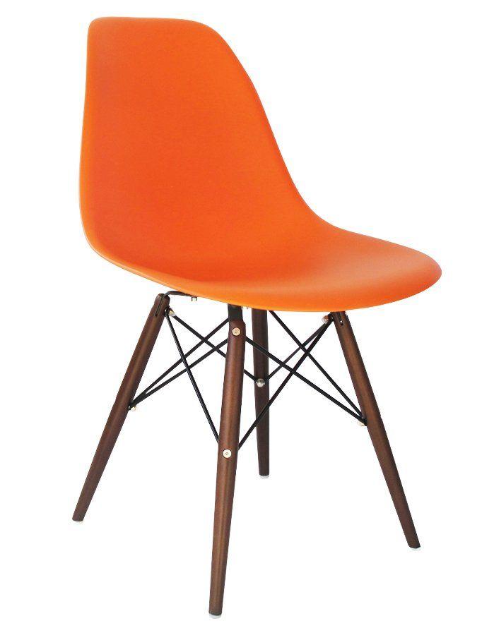 Replica Eames DSW Chair – Orange/Walnut Stain