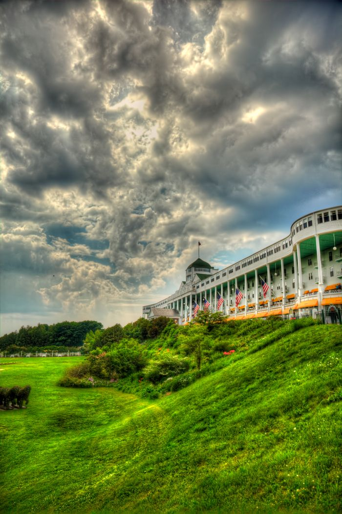 A BEAUTIFUL picture of the Grand Hotel on Mackinac Island in northern Michigan. I would live on this porch if I could.