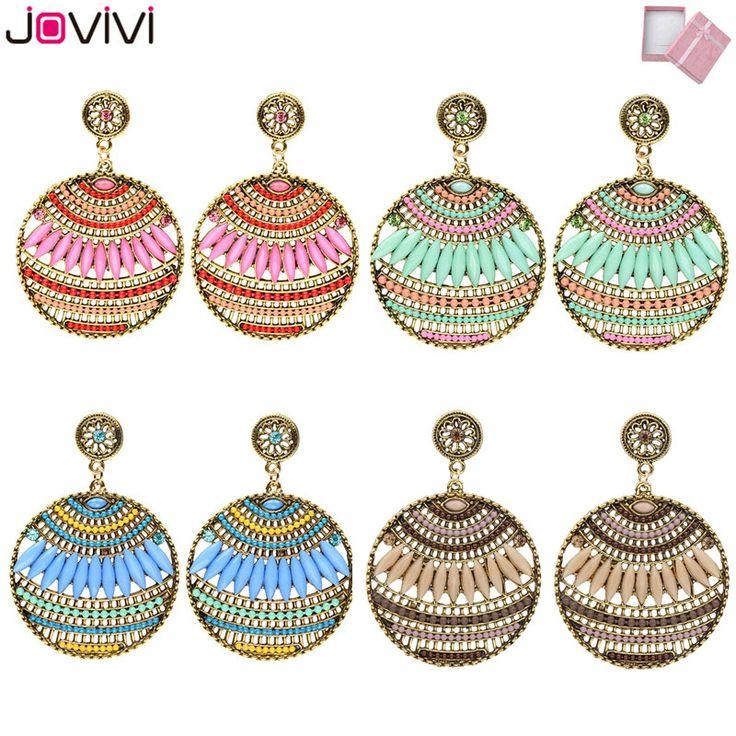 JOVIVI 2017 Latest Women's Luxury Bohemian Style Rhinestone Marquise Resin Beads Indian Tribal Fashion Dangle Earrings With Box #Affiliate