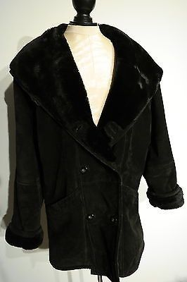 SAKS FIFTH AVENUE WOMEN'S BLACK SUEDE HOODED FUR LINED COAT/JACKET SIZE SMALL