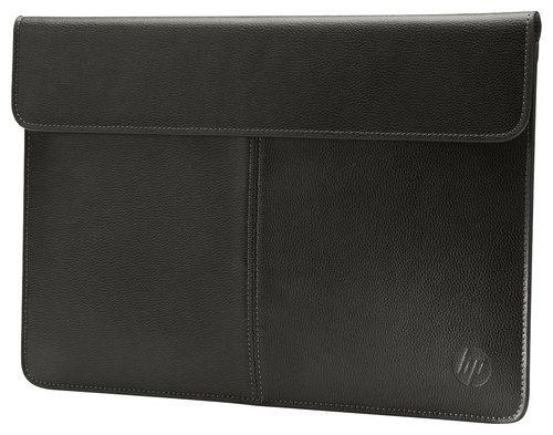 HP - Premium Leather Laptop Sleeve - Black