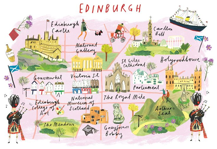 "Clair Rossiter, map of Edinburgh for The Art Group... This is perfect except that it's called ""Calton Hill"", not ""Carlton Hill"""