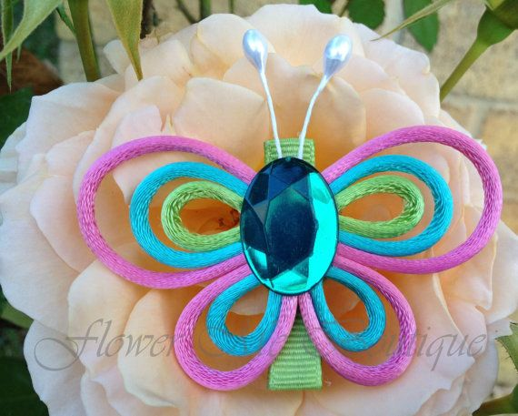 Butterfly clip pink turquoise apple green Hair por FlowerMeBoutique