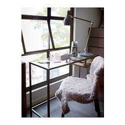 VITTSJÖ Mesa para portátil, negro-marrón, vidrio - 100x36 cm - IKEA 35€