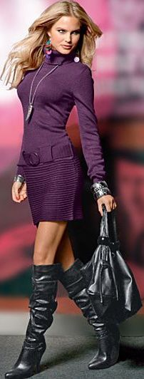High pleather or leather boots + Purple Sweater Dress + Hot Bag = Fall/Winter RTW 2013