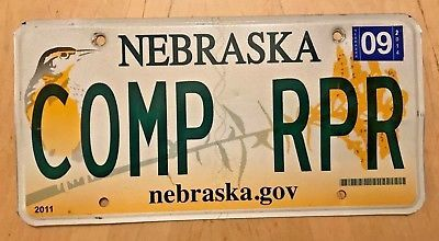 "NEBRASKA GRAPHIC BIRD VANITY LICENSE PLATE "" COMP RPR "" COMPUTER REPAIR PC MAC"