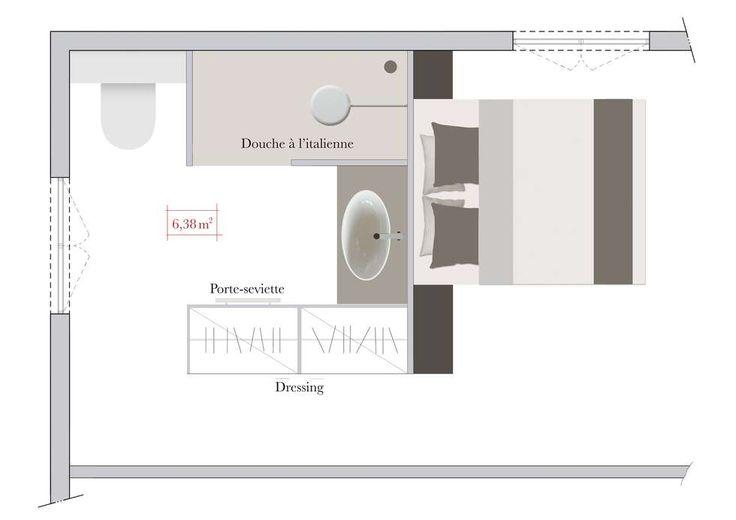 Salle de bains ouverte sur chambre bloc invisible derrière la tête de lit et le dressing