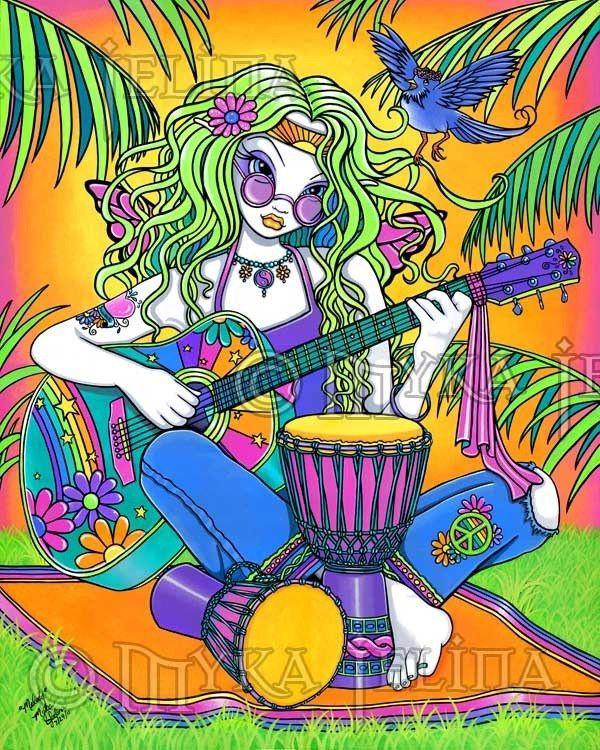 HIPPIE GUITAR DRUMS GIRL