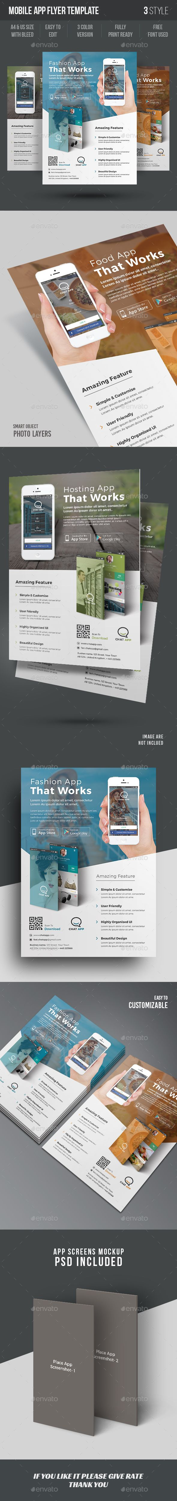 Mobile App Flyer Template — Photoshop PSD #mobile app flyer template #adverts • Available here → https://graphicriver.net/item/mobile-app-flyer-template/15286312?ref=pxcr