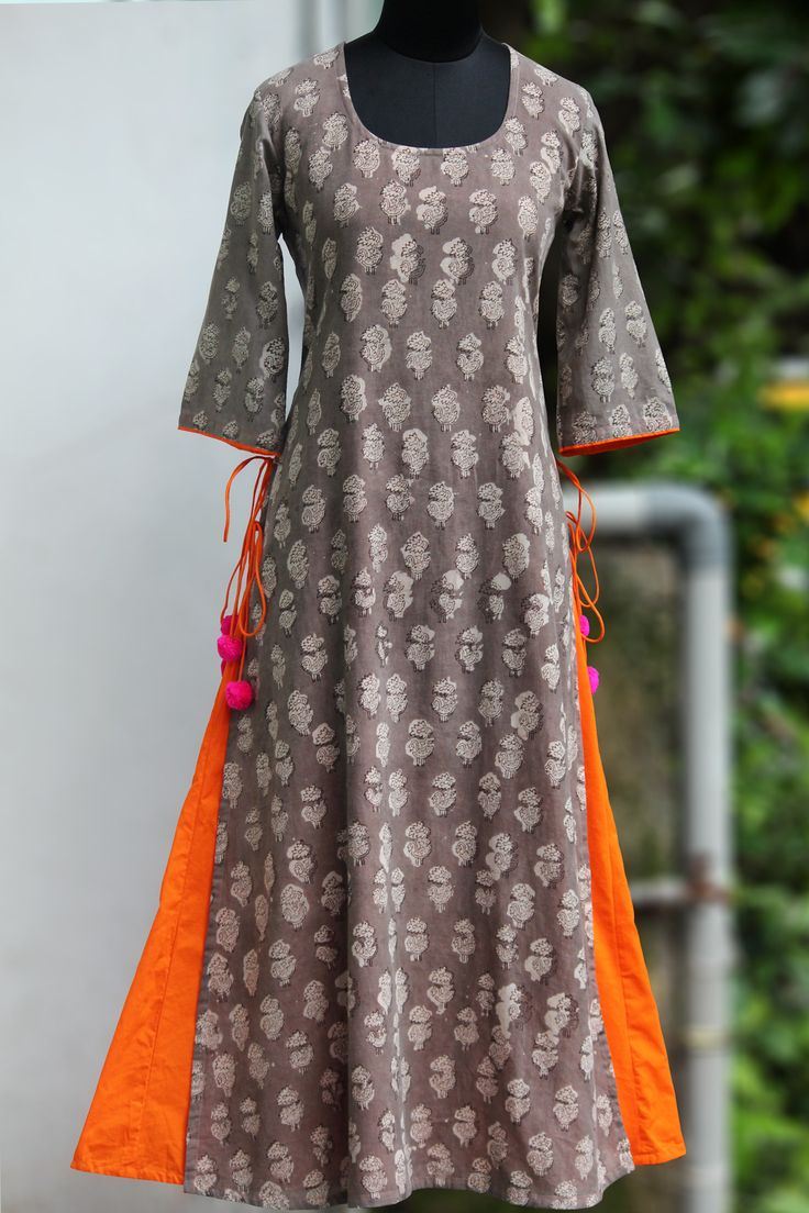 layered long kurta - grey & the orange pop – maati crafts