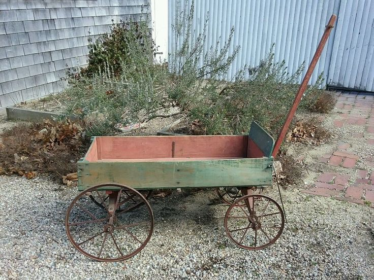 Antique child's red and green pull wagon all original made in Wabash , Indiana | eBay