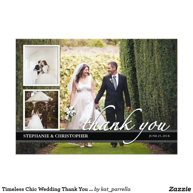zazzle wedding invitations promo code%0A Timeless Chic Wedding Thank You Three Photo Card