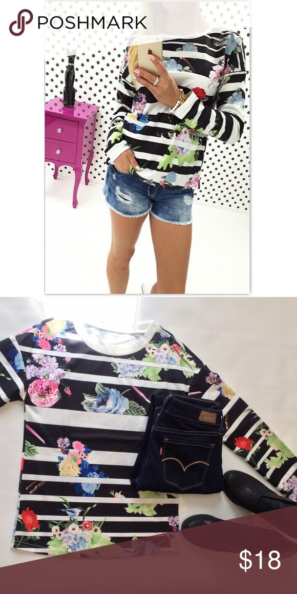 Strips & Floral Shirt Black & White Strip Long Sleeve Shirt with Floral Design - Comfortably made of 85% Polyester & 15% Spandex - Runs true to Size -  Happy Poshing  Tops Tees - Long Sleeve