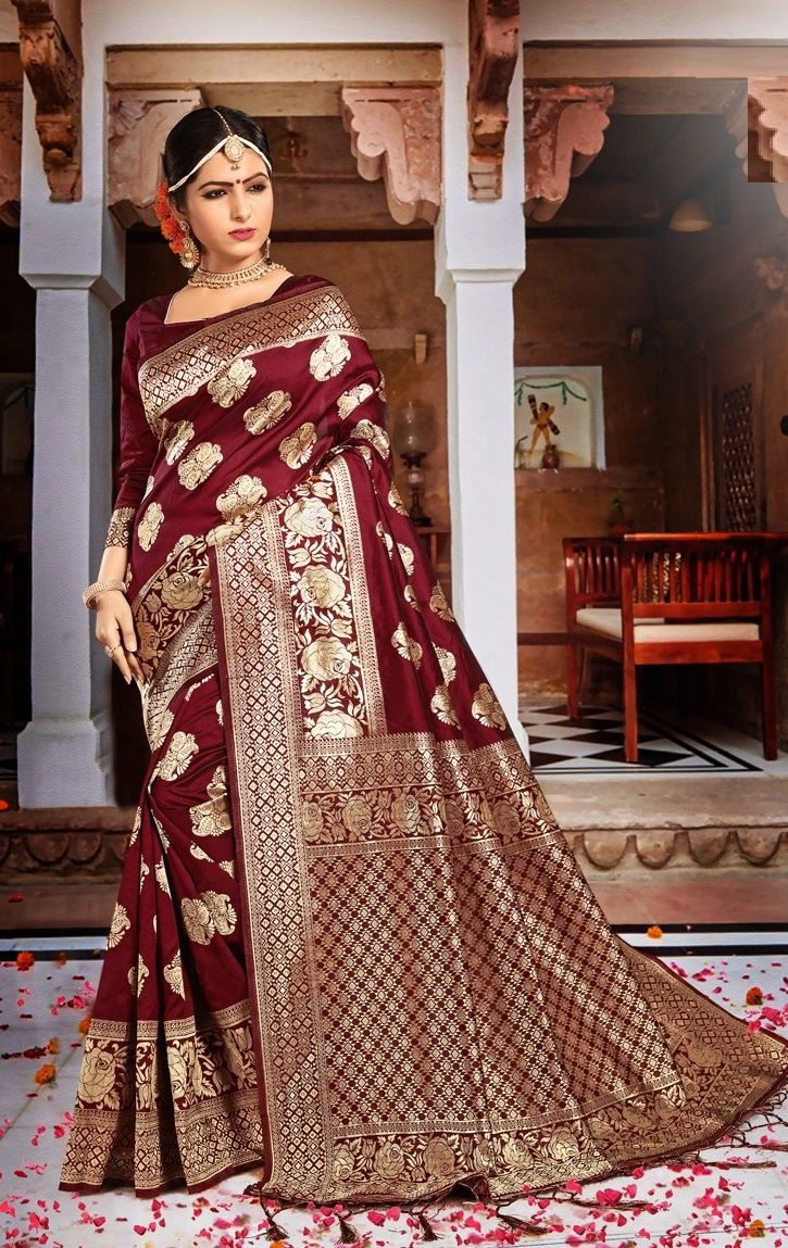 Banarasi Silk Saree In Maroon Color This Drape Is Elegantly Woven