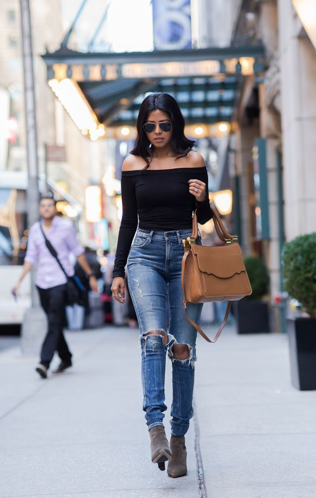 pinterest @esib123  ripped jean and off the shoulder top with ankle boots. WINDING DOWN IN MIDTOWN