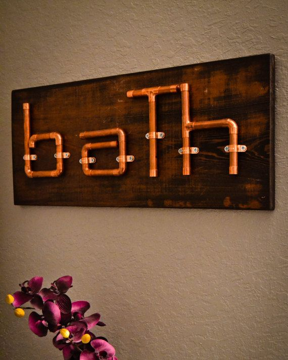 Reclaimed copper pipe bath sign, industrial copper sign, pipe sign, wood bath…