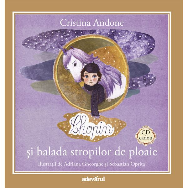 Chopin si balada sunetelor de ploaie - Carte + CD; Cristina Andone, Adriana Gheorghe, Sebastian Oprita; Varsta: 3+; Chopin e un spiridus firav si visator care locuieste in casuta din salcie. Muzica lui este limpede ca lacrimile zanelor si invaluitoare ca picaturile tomnatice de ploaie. Pianul spiridusului este fermecat, la fel ca muzica sa. Clapele se misca cu vointa proprie iar muzica izvorata este ca o balada veche de cand lumea...balada stropilor de ploaie.