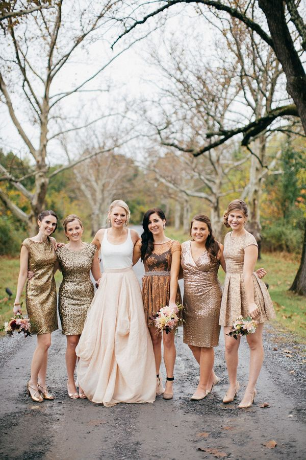 metallic bridesmaid dresses - photo by The More We See http://ruffledblog.com/vintage-pennsylvania-estate-wedding #bridesmaids