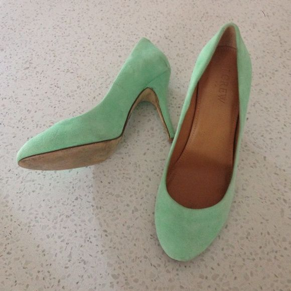 J. Crew suede mint heels Worn three times. Scuffs on heels. Sprayed with a protectant after the scuff occurred. Fronts are in great condition. J. Crew Shoes Heels