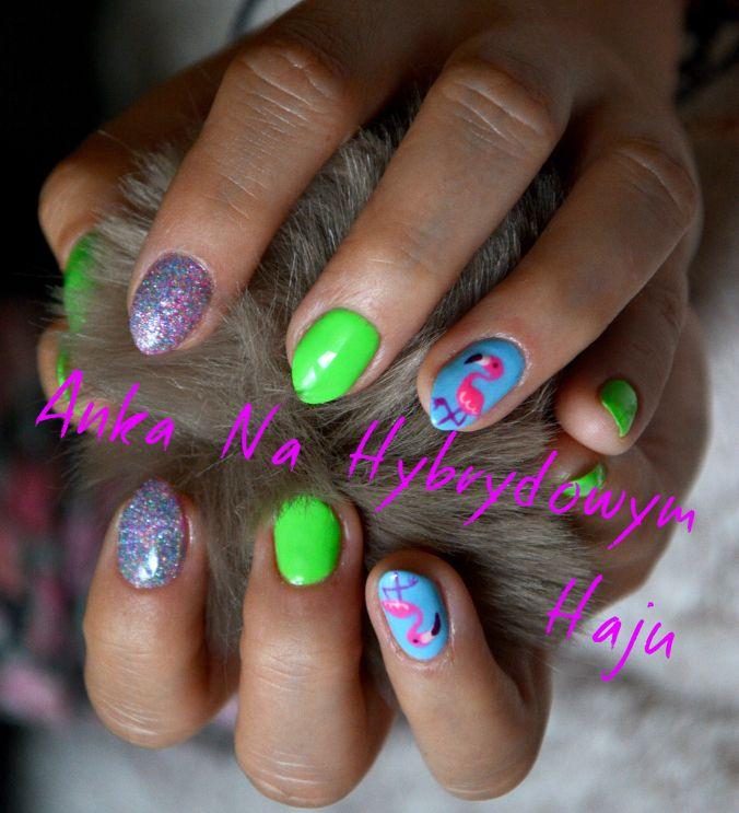 https://www.facebook.com/AnkaNaHybrydowymHaju/ #paznokcie #pazurki #manicure #hybrydy #AnkaNaHybrydowymHaju #Nails   #Nailart #wzorek #wzorki #summer #summernails #lato #flaming #flamingi #flamingo #flamingos
