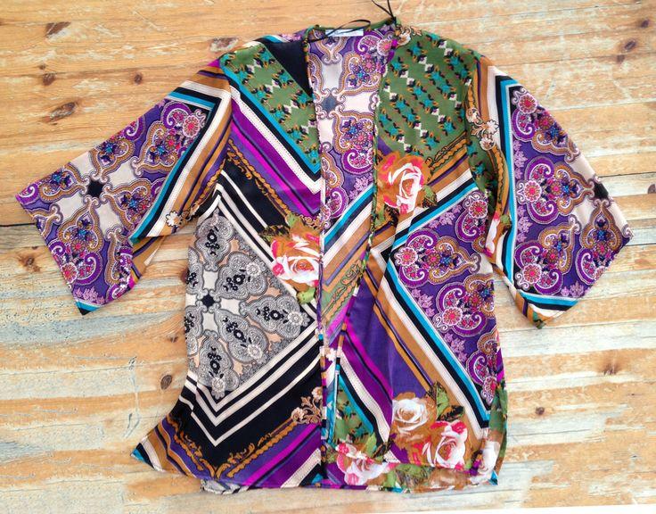 Fancy Rosette Printed Chiffon Cardigan (Purple) | Cardigans ...