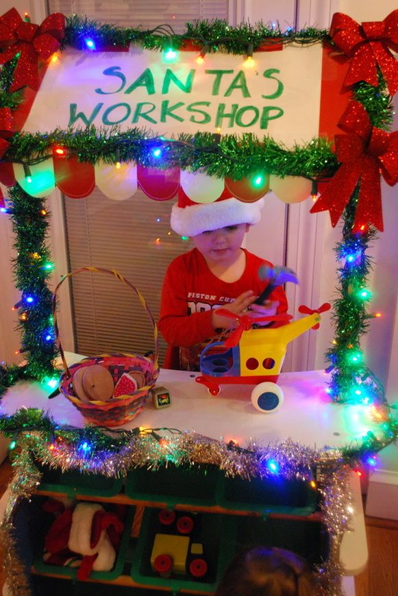 We love our Santa's Workshop!  Great idea to use the Melissa and Doug Grocery Store from Homegrown Friends!