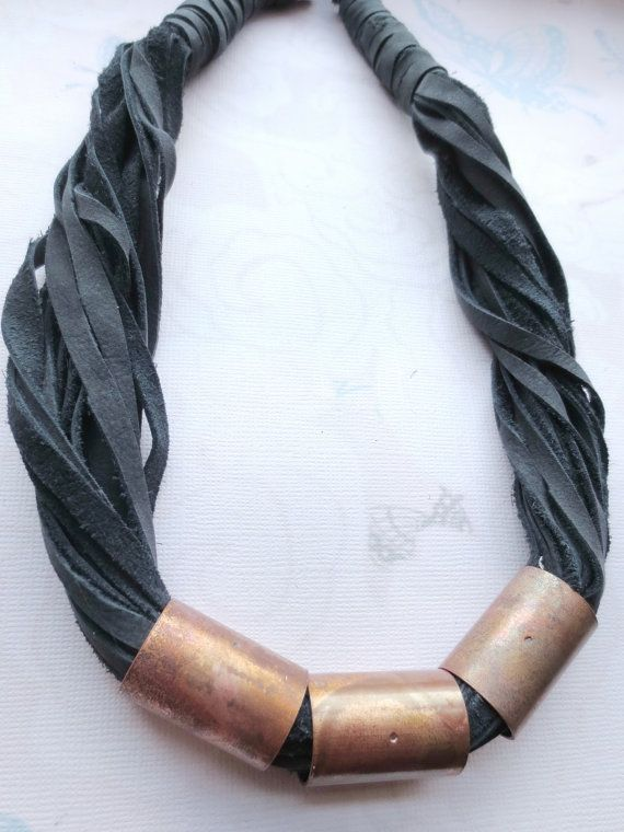 Black Leather Necklace Copper Spacers String Necklace Leather Jewelry Statement Necklace