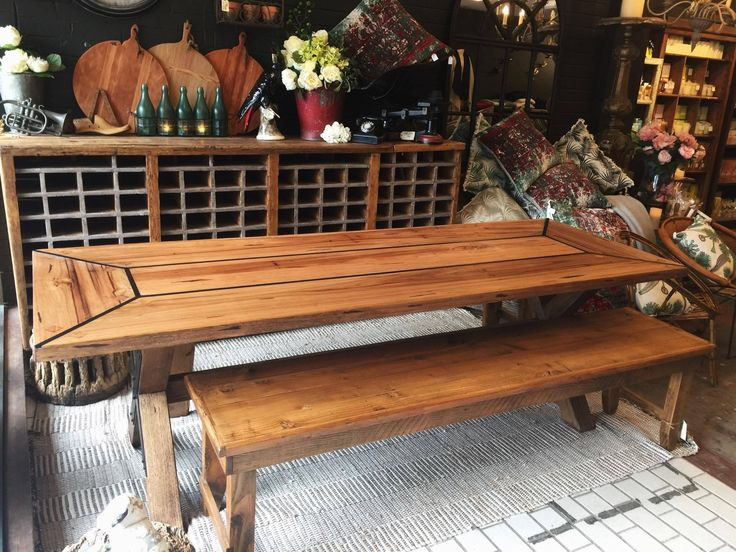 Industrial chic Australian Blackbutt Dining Table. #diningtable #homewares #furniture #wellwornfurniture #interiors #interiordesigner #antiques #rustavalon