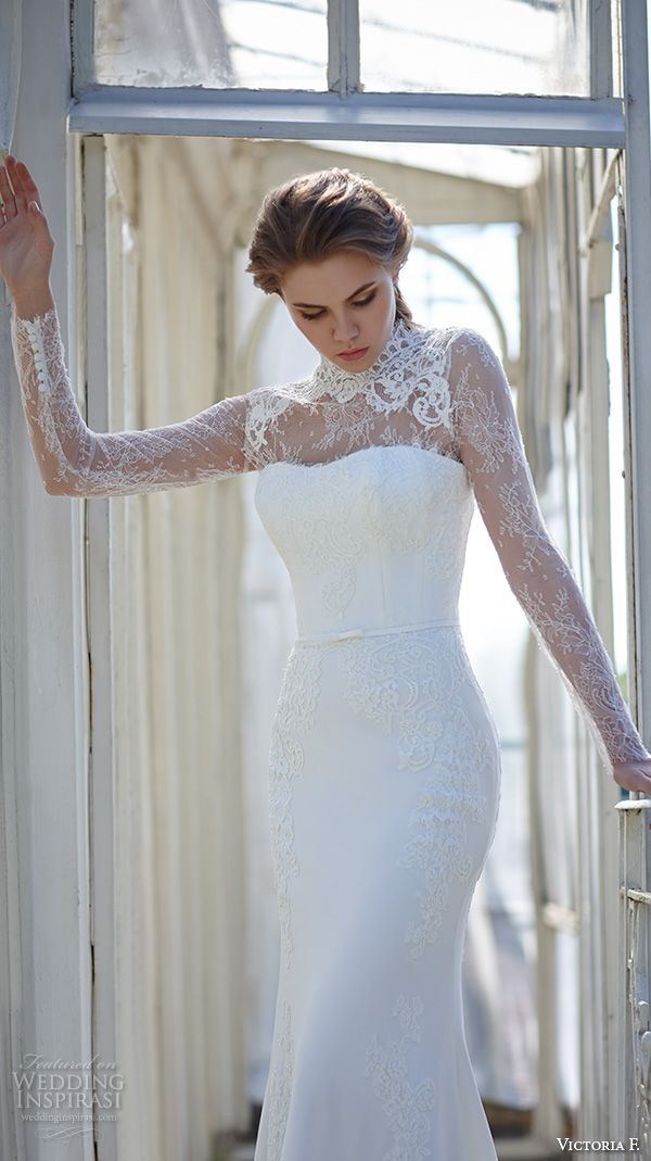 victoria f 2016 bridal high neck lace illusion neckline long sleeves sheath wedding dress front view: