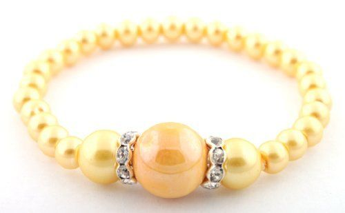 Yellow Beaded Pearl Style Stretch Bracelet with Two Iced Out Rondelle Loops JOTW. $0.01. Great Quality Jewelry!. 100% Satisfaction Guaranteed!