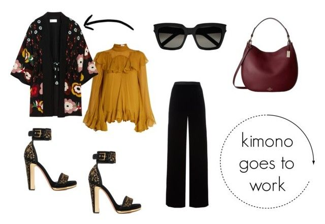 kimono goes to work by danesmit on Polyvore featuring Chloé, RED Valentino, T By Alexander Wang, Alexander McQueen, Coach and Yves Saint Laurent