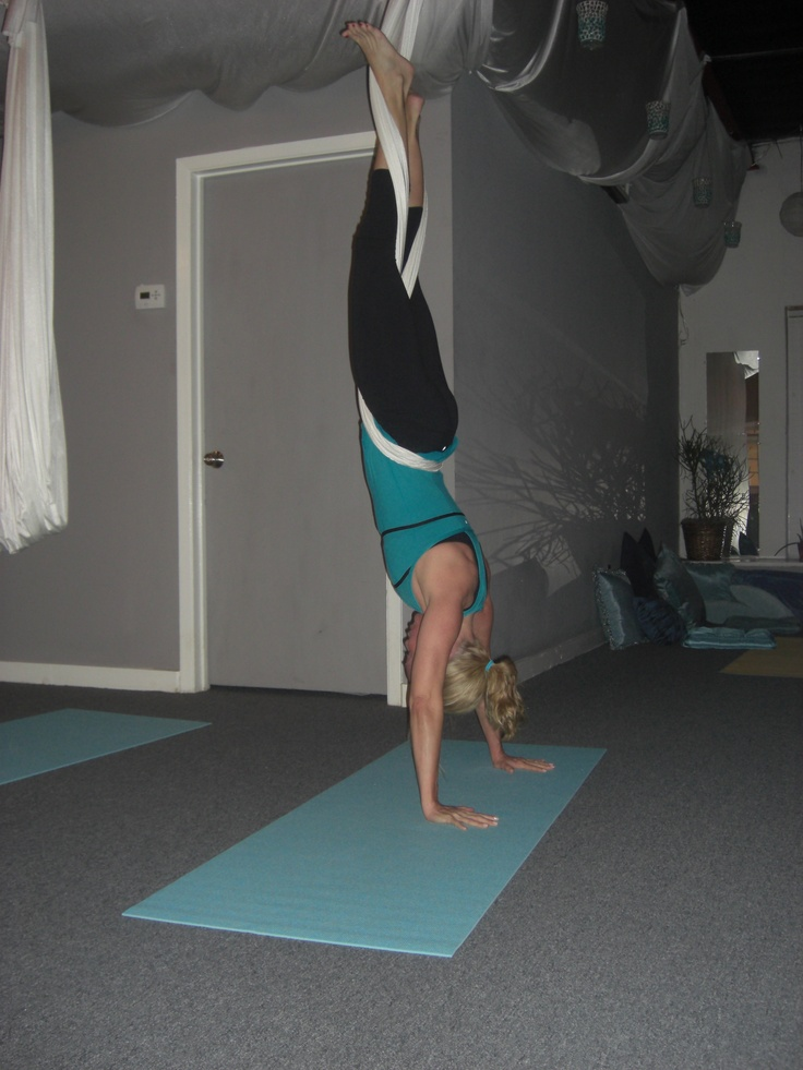 Great way to work on your handstand. Aerial Silks. R.