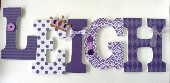 Baby Nursery Wall Letters Purple Princess Theme by LetterLuxe