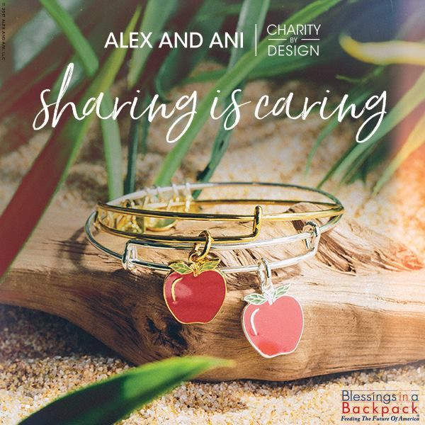 Sharing is a powerful act. To share is to provide. When you provide, you are not only helping someone else, but you are helping yourself and everyone around.  Alex and Ani will donate 20% of the purchase price from each Apple Charm Bangle sold to Blessings in a Backpack, a program designed to feed underprivileged children.  #shopdewaynes #alexandani #apple #sharingiscaring #blessingsinabackpack