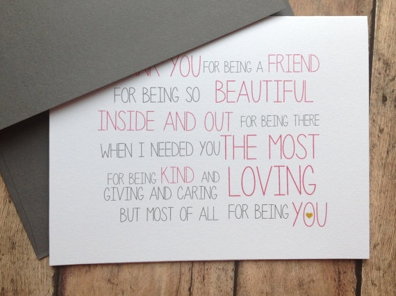 Friend card - best Friend greeting card stationery - love quote card. $4.25, via Etsy.