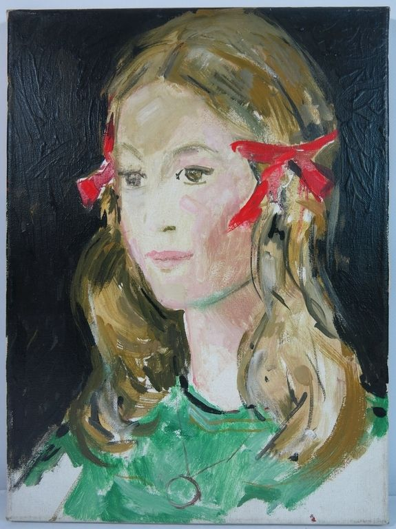 Theo Beerendonk: Olieverf op doek, Meisje met rode strikken