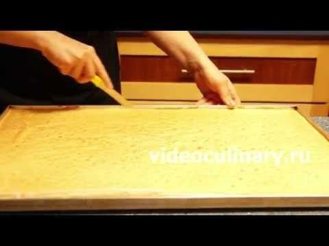 ▶ Тонкий масляный бисквит от http://videoculinary.ru - YouTube