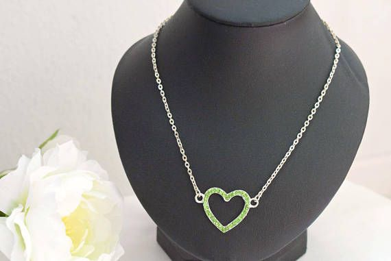 Green Heart Necklace  Rhinestone Necklace  Crystal Jewelry