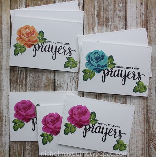 Who can resist these layered roses? Nichol also used the Simon Says Stamp Prayers sentiment set to finish off her cards. Check out the video on her blog!