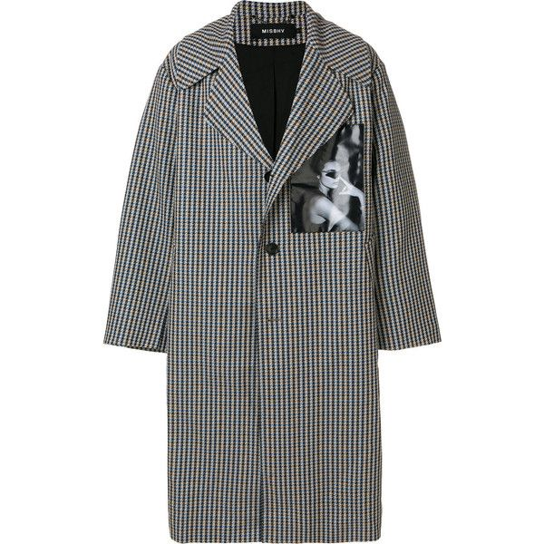 Misbhv long houndstooth coat ($377) ❤ liked on Polyvore featuring men's fashion, men's clothing, men's outerwear, men's coats, multicolour, mens long coat and mens houndstooth coat