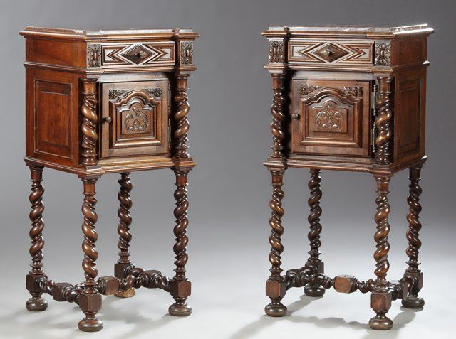 ~ Pair of Louis XIII Style Marble Top Nightstands ~ | liveauctioneers.com